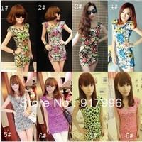 New !! 2013 Korean Women Summer New Fashion Women's Mini Dress Crew Neck Chiffon Sleeveless Causal Tunic Sundress  Free Shipping