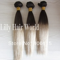 "Free Shipping! 22"" Silky Straight Two Tone Blonde Color T18/613, 100% Brazilian Virgin Human Hair Extension, Machine Made Weft"