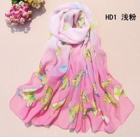 3pcs lot fashion wholesale women chain butterfly Chiffon scrafts Shawl Wrap free shipping