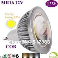 20X High Power MR16 12V GU5.3 85-265V 12W COB LED  Spotlight  led bulb Led light led lamp Home Garden free shipping by DHL
