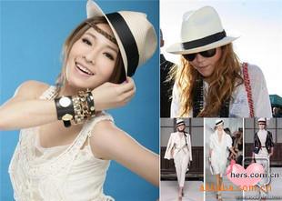 YBB Factory wholesale Ribbon Decorative Straw Hat Knit Jazz Straw woven Hat Leisure Round Brimmed Cap Hat B036