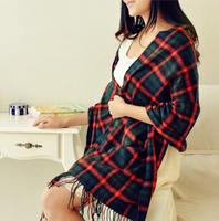 YBB C064 210x60CM New Korean Winter Female Shawl Dual Color Plaid Warm Long Scarf Wholesale