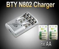 EU/US Plug Smart AA AAA Ni-MH Ni-Cd Rechargeable Battery BTY N802 Charger+ 8x AA 1.2V 3000mah rechargeable Ni-MH battery