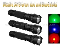 3SET/LOT Ultrafire WF-501B Green Red and Blue&Violet LED Flashlight Torch + 18650 Rechargeable Battery +  Charger