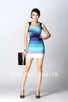 Free Shipping Women Dresses 2013 Hot Sale HL Bandage Dress Spaghetti Strap Blue Evening Dress Fashion Party Dress Size XS S M L