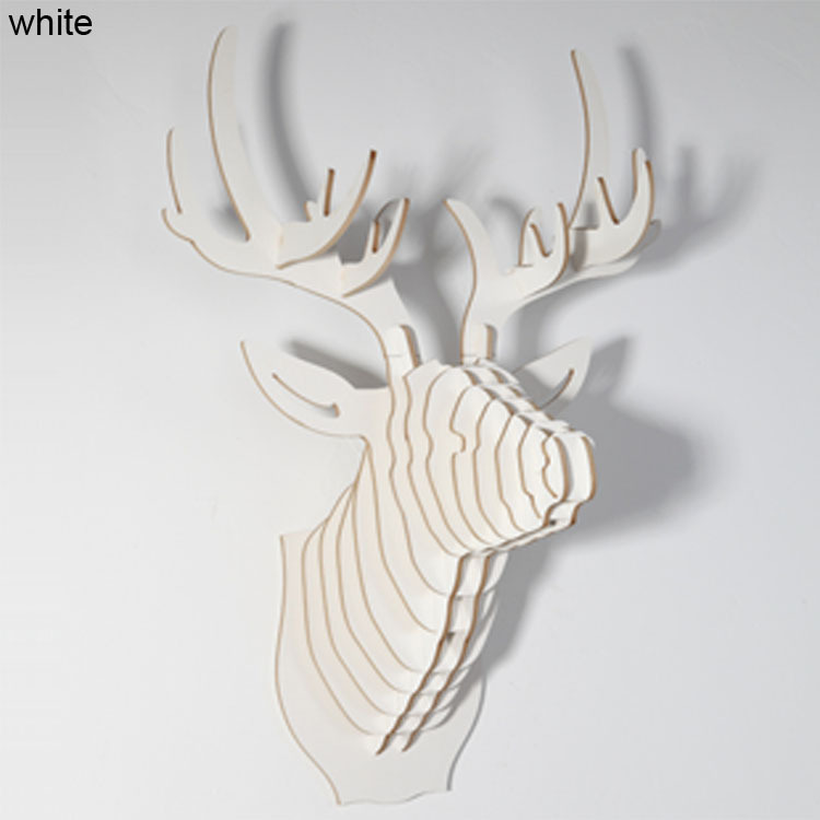 DHL Free shipping ! White Deer Head of grass animal for wooden home decor,strange new creative gifts,DIY wood crafts,wall decor(China (Mainland))