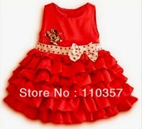 2013 Factory direct sales,girls clothing Minnie bowknot princess dress 5pcs/lot 100%cotton girls dress girls dress free shipping