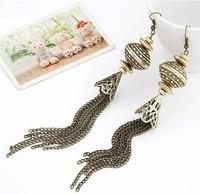 New Arrival Fashion European Vintage Style Bronze Lantern Tassels dangle Earring Jewellery 6pairs/lot