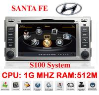 Car DVD For Santa Fe Hyundai Car PC Auto Multimedia 1G CPU 1080P 3G Host HD Screen S100 DVR Audio Video Player Free EMS DHL