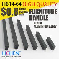 LICHEN 64m centres Black oxidation Aluminium alloy Furniture handle H614-64 Cabinet Drawer handle