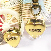 New promotional antique small pocket watch fashion ladies' necklace watch 8918 heart shape for loves gift free shipping
