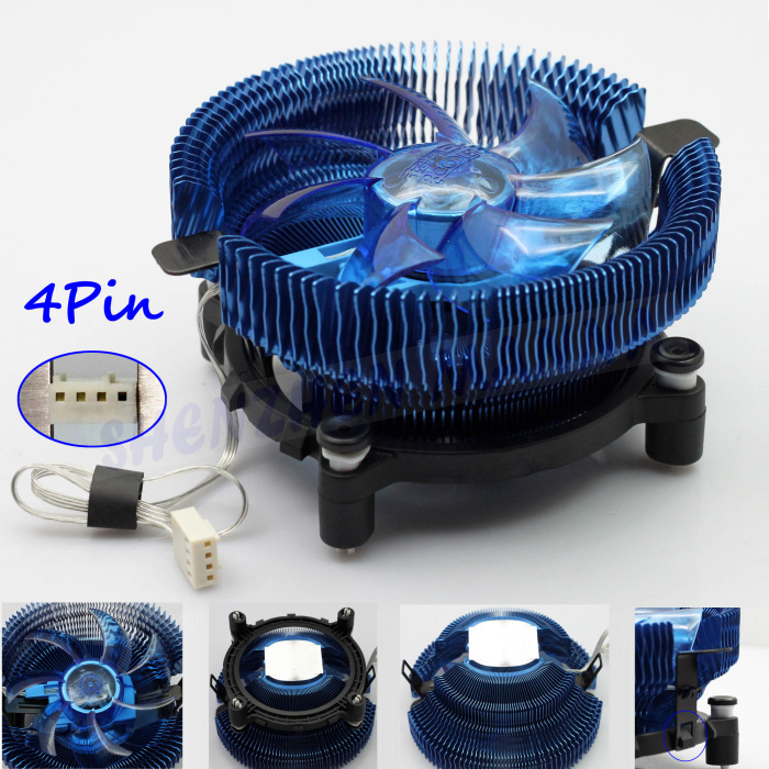 FREE SHIPPING 90MM 4PIN DC 12V LED Ultra silent CPU COOL COOLING Heatsink COOLER fan Support Intel/AMD 1PC FS037(China (Mainland))