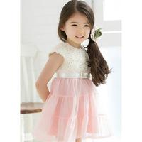 2014 new wholesale Chiffon kids dress children dress stitching Floral 2~8 Age 1Lot/5pieces