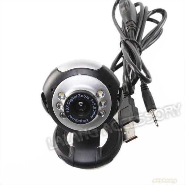 1PC New 50.0 Mega Pixels 6 LED USB 2.0 Video Camera Webcam With Skype PC Mic 740066(China (Mainland))