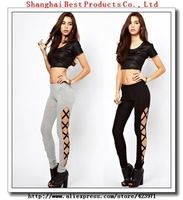 black bandage cross high elastic  thin  legging , FREE SHIPPING