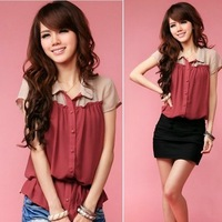 2013 New arrival fashion quality leisure woman short sleeve color patchwork chiffon shirt summer thin casual blouse L109