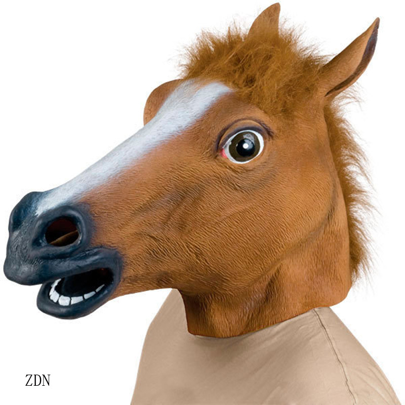 Fashion Hot Creepy horse head mask cosplay Halloween Costume Theater Prop Novelty Latex Rubber 1pcs(China (Mainland))