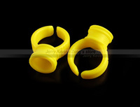 150pcs - Plastic Ring Ink Holders / Caps - Yellow - Permanent Tattoo Makeup Accessories - Eyebrow, Eyeliner, Lip - Free Shipping