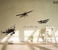 (Minimum order $5,can mix)  Various Color Plane Fly in the Sky Decor Mural Art Wall Sticker Decal WY722