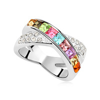 "6 "" colors for option fashion white gold finish crystal rings jewelry for women"