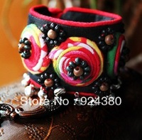 hot miao traditional charm bracelet silver bell bead decorated unique handmade craft beautiful embroidery design free shipping