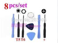 8 pcs in 1 Repair Opening Tool Kit Set T5 T6 Torx Screwdriver Special Repair Opening Tool Kit for Samsung Nokia HTC *1000set/lot