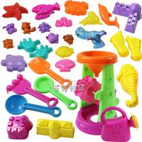 Free shipping Child beach tool hourglass sand tools beach toy set belt water gun 30 piece/ set Bath Toy