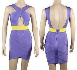 J174 New Style LILAC & GOLD KEYHOLE BANDAGE DRESS