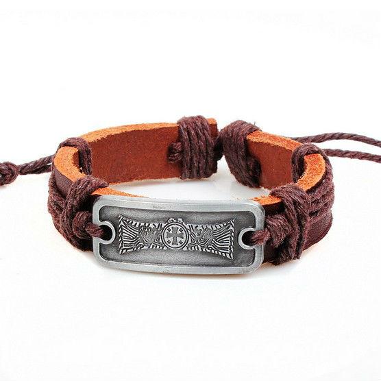ba087 wholesale genuine leather bracelet wristband alloy