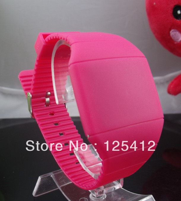 60pcs/lot Fashion Unisex style led Silicone strap LED Touch Screen Red Light Watch 12 colors high quality(China (Mainland))