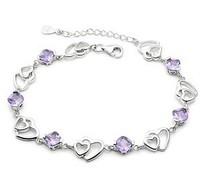 2014 New Fashion,Charm,925 Sterling Silver,Silver,Women's Heart Purple  Zircon Bracelets charm bracelet jewelry BS054-A