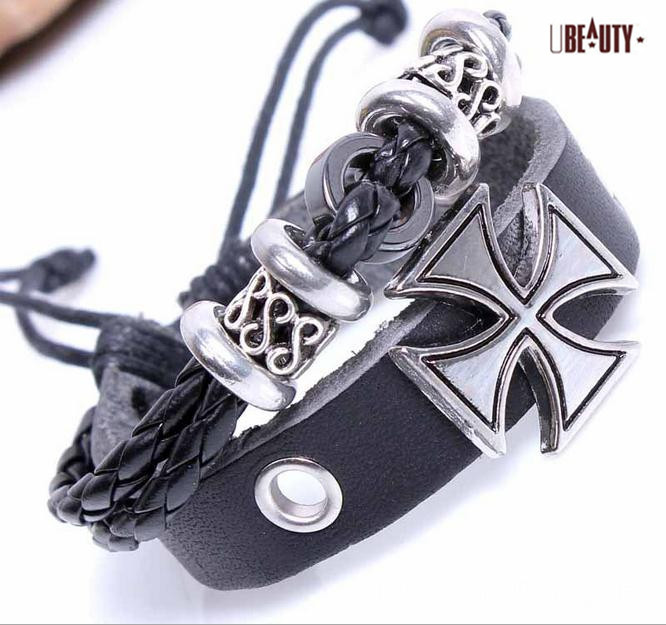 (Minimum ORDER $10) Genuine Leather Personality is cross Charm Handmade Wrap Fashion Bracelet Wristband Adjustable 2026(China (Mainland))