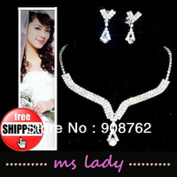 2013 Bridal Jewelry Free Shipping Rhinestone Wedding Jewelry Sets with Necklace Earring HK Airmail with Tracking Number