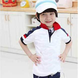 Retail New Fashion Style Children Summer Wear Baby Boys Tops Letter Print Short Sleeve Cotton T-Shirts, Free Shipping KS015(China (Mainland))
