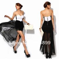 2014 Free shipping New Sexy Strapless Women Irregular Swallowtail Zipper back Evening Long Dress D0009