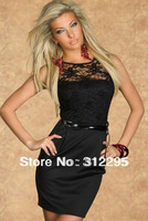 High Quality+Classic N2770 Sexy Black Sunflower Lace Cut-out Back Mini Dress Club Dress