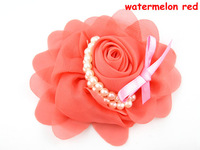 Chiffon Rosette Flowers With Pearl Ribbon Bow For Baby Headbands garments hat hair ornaments accessories13*9cm Free Shipping F68