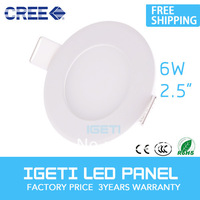 Free Shipping AC85-265 LED panel lights 6W Round led ceiling panel light