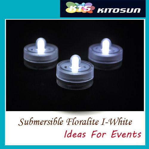 Factory vendor 10pcs/lot White color Submersible battery led FLoralyte~Submersible led lights-underwater led light(China (Mainland))