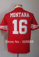 #16 Joe Montana Kids Youth Game Team Red Football Jersey