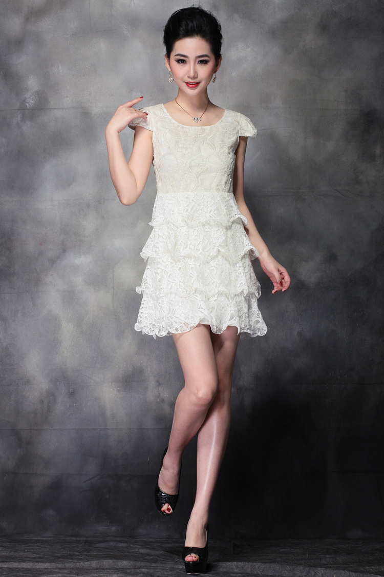 Free shipping women&#39;s one piece dresses wedding dress lace skirt office lady&#39;s clothes vintage elegant gown(China (Mainland))