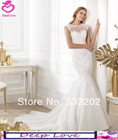 Mermaid Cap Sleeve Chapel Train With Lace 2014 Elie Saab New Design Wedding Dresses Bride Gowns Custom Free Shipping DL823