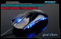 6D Professional optical game gaming mouse/Ergonomic/DPI 1800/Competitive game must/CS,CF,Dota,War3,Starcraft,Free Shipping