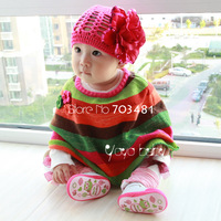 Town shop Exclusive sales Baby spring and autumn cloak Mix knitted chromatic stripe cloak Baby shawl baby girl's clothing