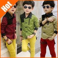 hot sale spring summer children Gentleman shirt factory price promotion children clothing boy shirt