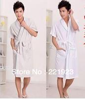 Pure cotton short sleeve summer men's bathrobe