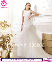 Sheath With Sequined Cap Sleeve 2014 Elie Saab Design Elegant Wedding Dress Bridal Gowns Custom Made Free Shipping DL123
