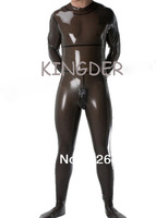 Transparent black latex catsuit zipper from back under crotch club bodysuits for men