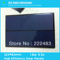 Free Shipping 5.5v 1.8w 123*83mm PolyCrystalline Solar Panel High Efficiency Solar Panels PV Module A Grade Cell Phone Charger(China (Mainland))