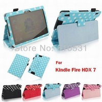 Fashion PU Leather Book Case for Kindle Fire HDX 7 HD X7 Cover,sleep/wake up,retail and wholesale